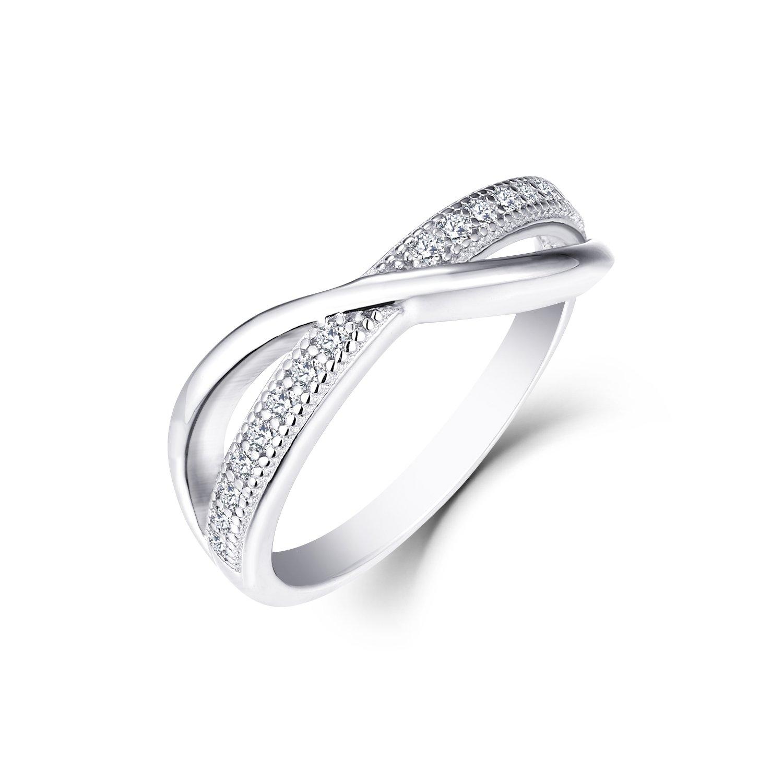 0.13 Carat Prong Set Diamond Wedding Band Ring in 10K White Gold Size6