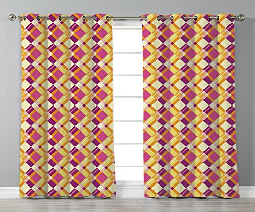 Thermal Insulated Blackout Grommet Window Curtains,Retro,Old Fashioned Plaid Pattern Crosswise Lines in Warm Colors Classical Geometrical Decorative,Fuchsia Yellow,2 Panel Set Window Drapes,for Living (Pattern Color Plaid Split)