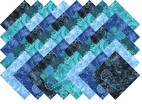 Blue Printed Batik Collection 40 Precut 5-inch Quilting Fabric Charm Squares
