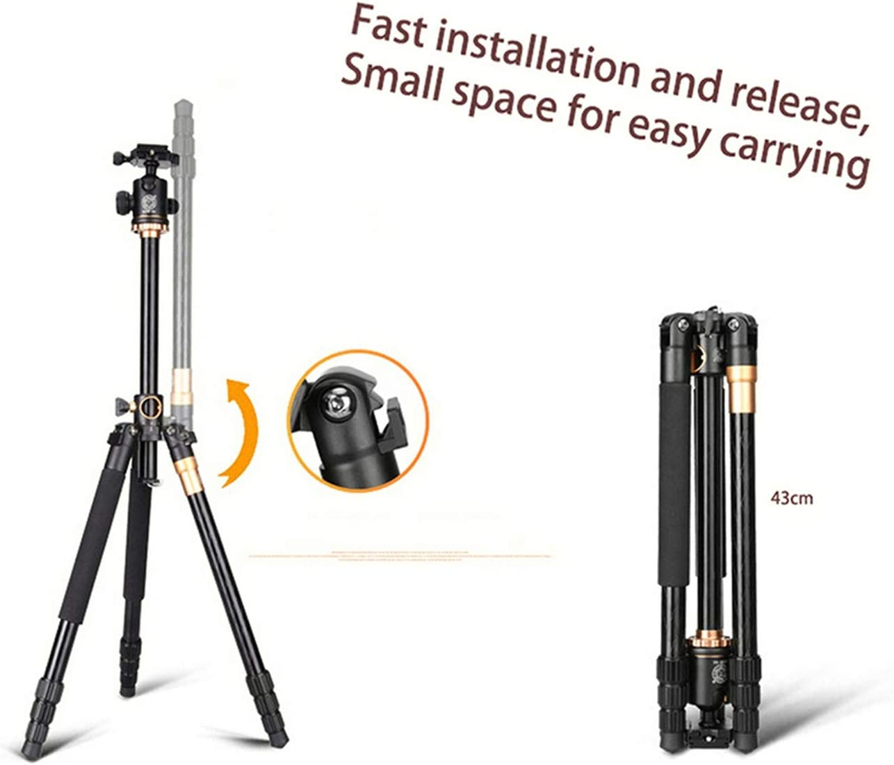 """Color : Black LLluckyHW Outdoor Compact Aluminum Video Camera Tripod Monopod Travel and Work Projectors Tripod Camera Tripod 61/""""Cameras Up to 17 Pounds"""