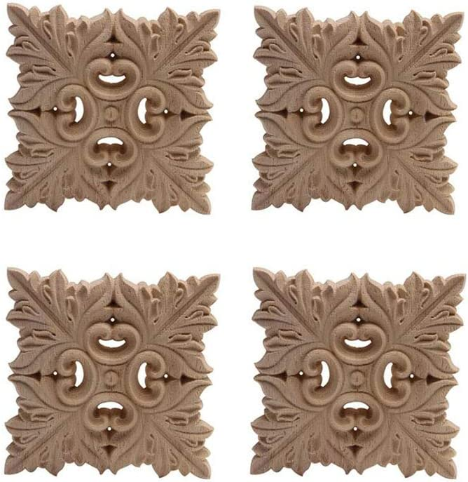 LXYUUM Wood Carved Corner Furniture Onlay Wooden Applique Unpainted Home Decor (04, 8×8cm/3.15×3.15inch)