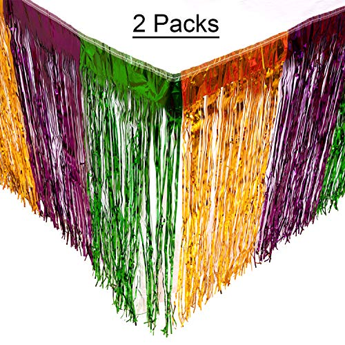 Mardi Gras Table Skirt Metallic Fringe Party Decorations/Supplies - 2 Packs ()