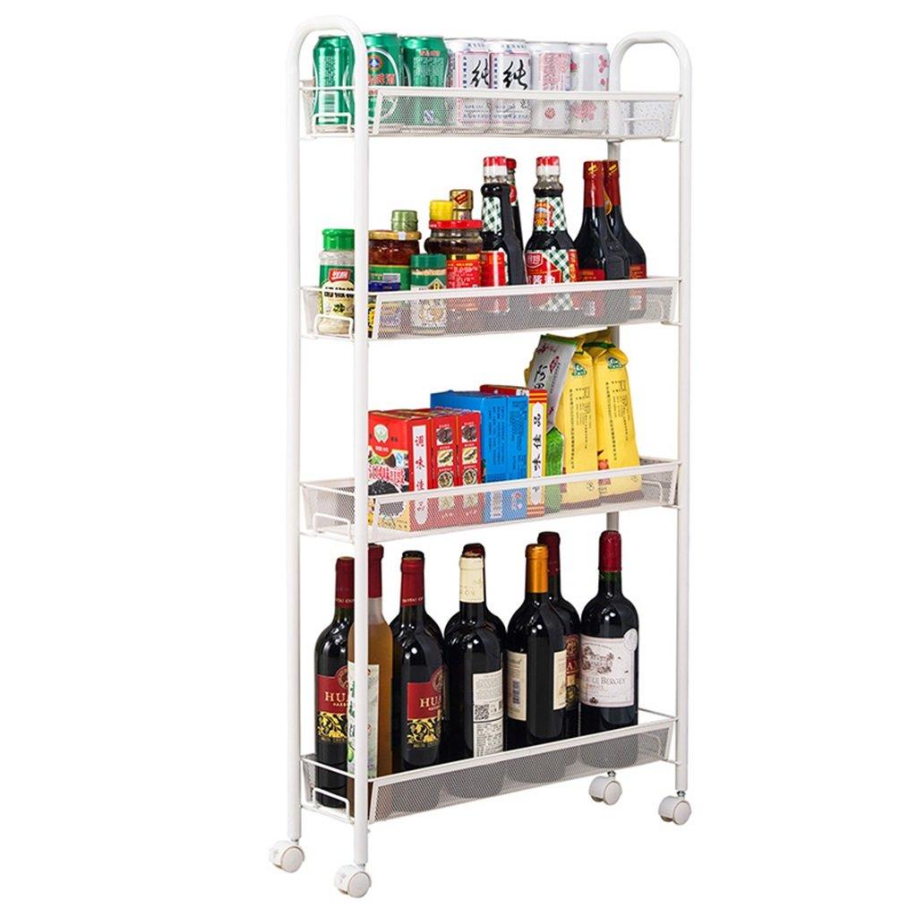 CHS@ ギャップストレージラックシェルフシェルフ冷蔵庫クリアランスラックキッチンバスルームそれは移動することができます (色 : 白) B07RVL28XF 白