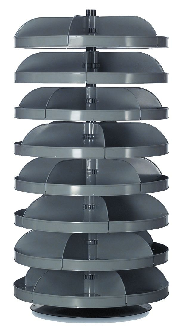 Durham - 1308-95 - 65-1/2 Steel Revolving Storage Bin with 500 lb. Load Cap. per Shelf, Gray