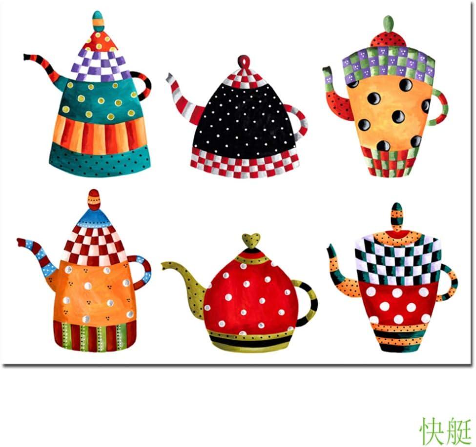 JinYiGlobal Arte de la Lona Todas Las Clases Caldera Dibujos Animados Pintura de la Lona Impresiones Modernas de la Pared Carteles Cocina Restaurante Hogar Decorativo 60x70cm (23.6