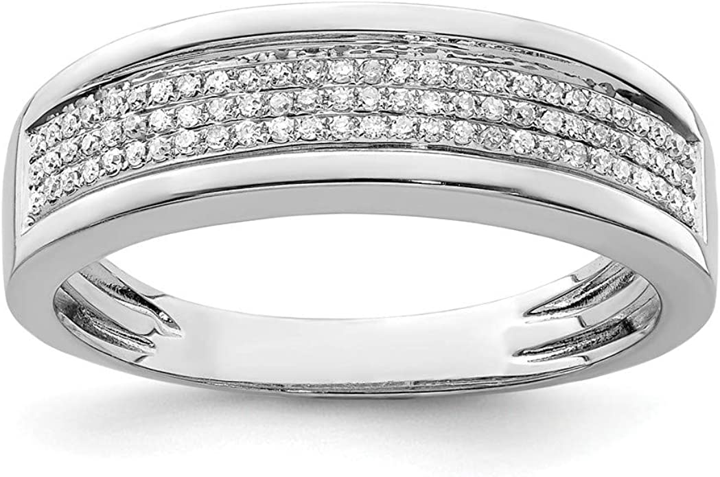 FB Jewels Solid Sterling Silver Rhodium Plated Diamond Mens Ring