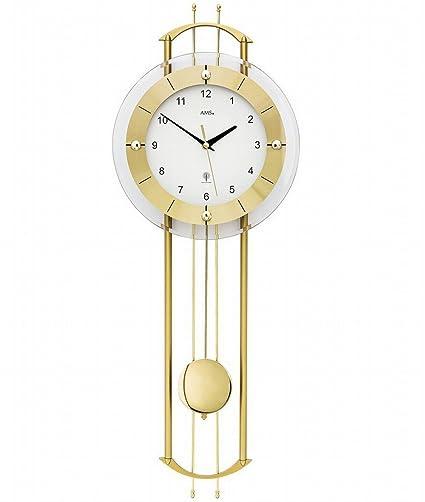 Ams Design Pendel Wanduhr Funkuhr Modern Mit Mineralglas Und Metall Golden