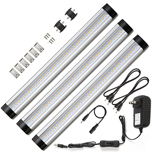 Ustellar LED Under Cabinet Lighting 3 Panel Kit, 12in Under Counter Lighting, 900lm, 3000K Warm White, 12V DC, 24W Fluorescent Tube Equivalent, LED Light Bar for Closet Bookshelf Showcase Bedroom (Home Bar Lighting)