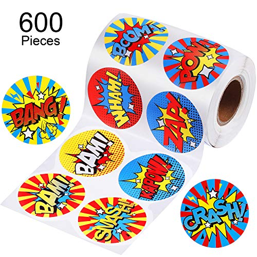 Chinco 600 Pieces Hero Stickers Hero Roll Stickers