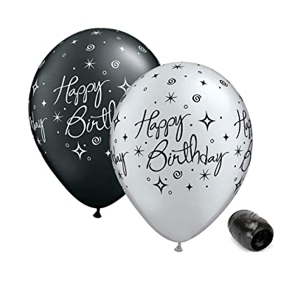 "10 Pack 11"" Happy Birthday Black Silver Sparkles Latex Balloons with Matching Ribbon: Toys & Games"