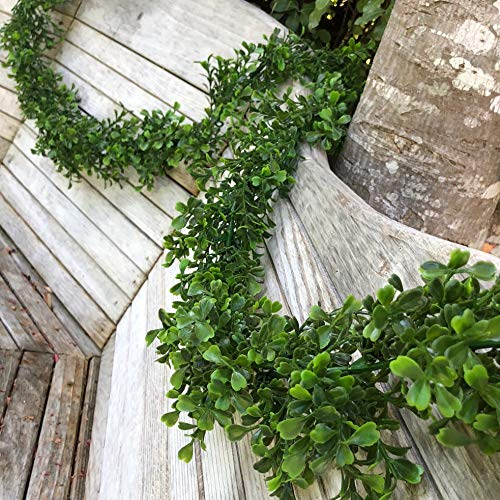 Boxwood Garland - The Brides Bouquet 9 ft Artificial Boxwood Garland for Wedding, Event and Home Decor