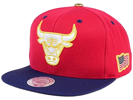 7d7529b0 Mitchell & Ness NBA USA 2 Tone Gold Logo Adjustable Snapback Hat Red/Navy (
