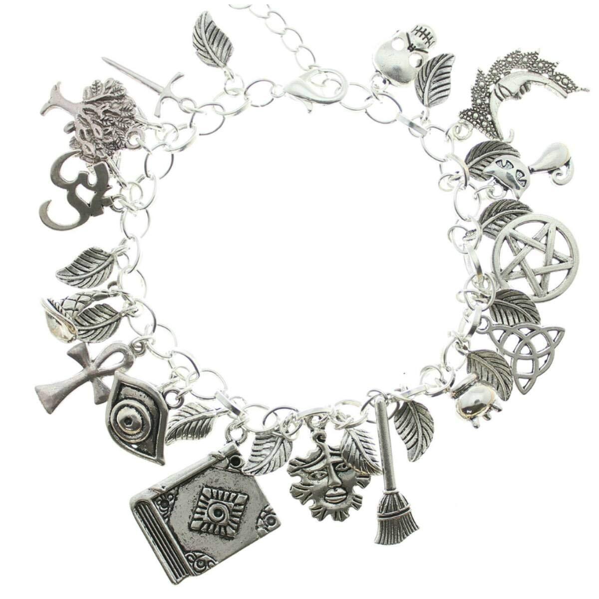 AVBeads Jewelry Wiccan Charm Bracelet Witch Pagan Wicca Silver Metal (1609)