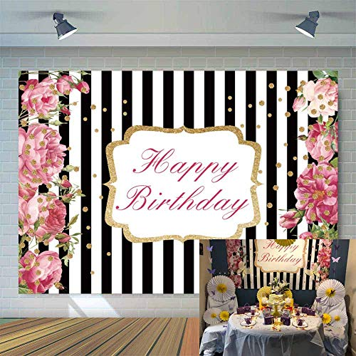 Allenjoy 7x5ft Pink Rose Happy Birthday Party Backdrop Black SND White Stripe with Golden Dots Floral Women Birthday Photography Background Photobooth Props Cake Table Banner