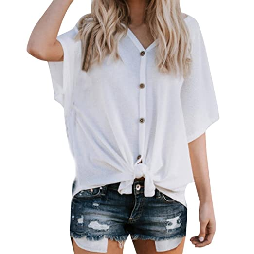 a1771a7ef Image Unavailable. Image not available for. Color: RAINED-Womens Loose  Blouse Short Sleeve V Neck Button Down T Shirts Tie ...