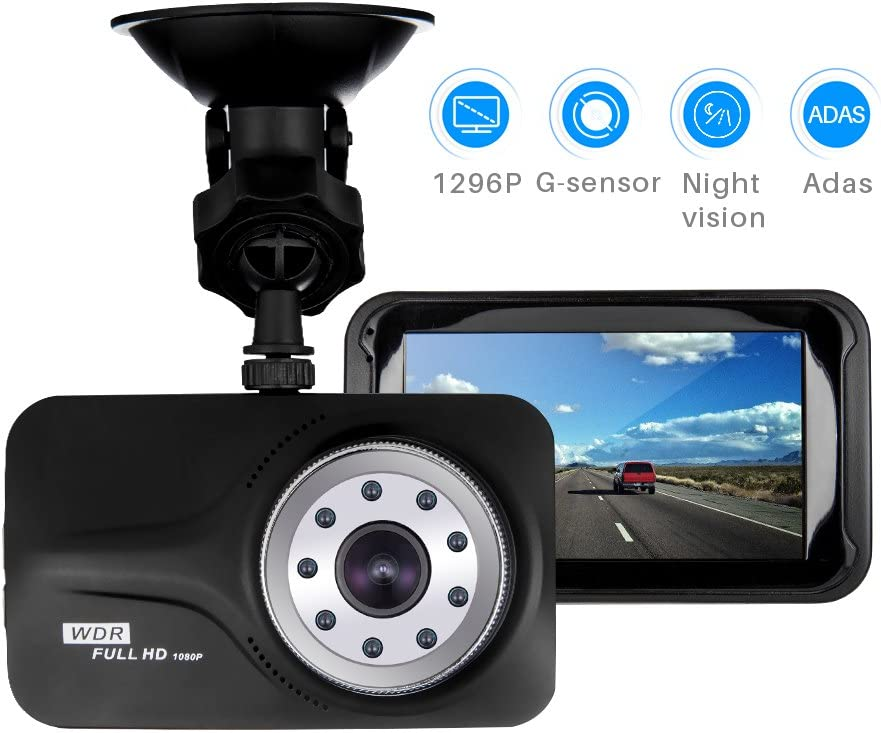 "Car Camera Dash Camera for Cars - 3"" 1296P 170°Wide Angle Dash Cam by Aiworth Built-in G-Sensor,Night Vision,ADAS System,Forward Collision Warning,Parking Notice,Loop Recording Dashboard Drive Record"