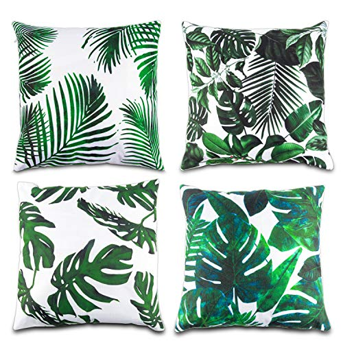 Lauren 4 Pcs Tropical Leaves Throw Pillow Cover Green Palm Leaves Cushion Cover Square Pillow case Ideas Home Decor for Sofa, Couch, Bed and Car 18 x 18 Inch ()