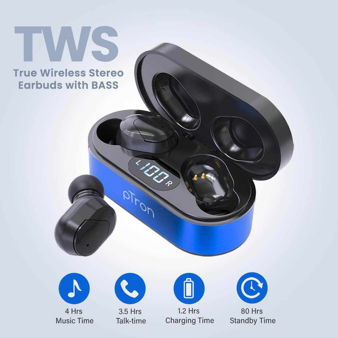 pTron Bassbuds Plus True Wireless earbdus