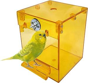 kathson Parrot Bath Box Bird Hanging Bathtub Tube Shower Box Bowl Cage Accessory for Pet Birds Canary Parakeets Budgies Lovebirds