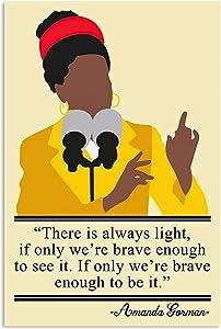 KING PRINT Amanda Gorman Canvas Wall Art There is Always Light Amanda Gorman Woman Have A Speech Poster Wall Art Hanging Painting Photography Paper Watercolor Living Classroom Home Decor