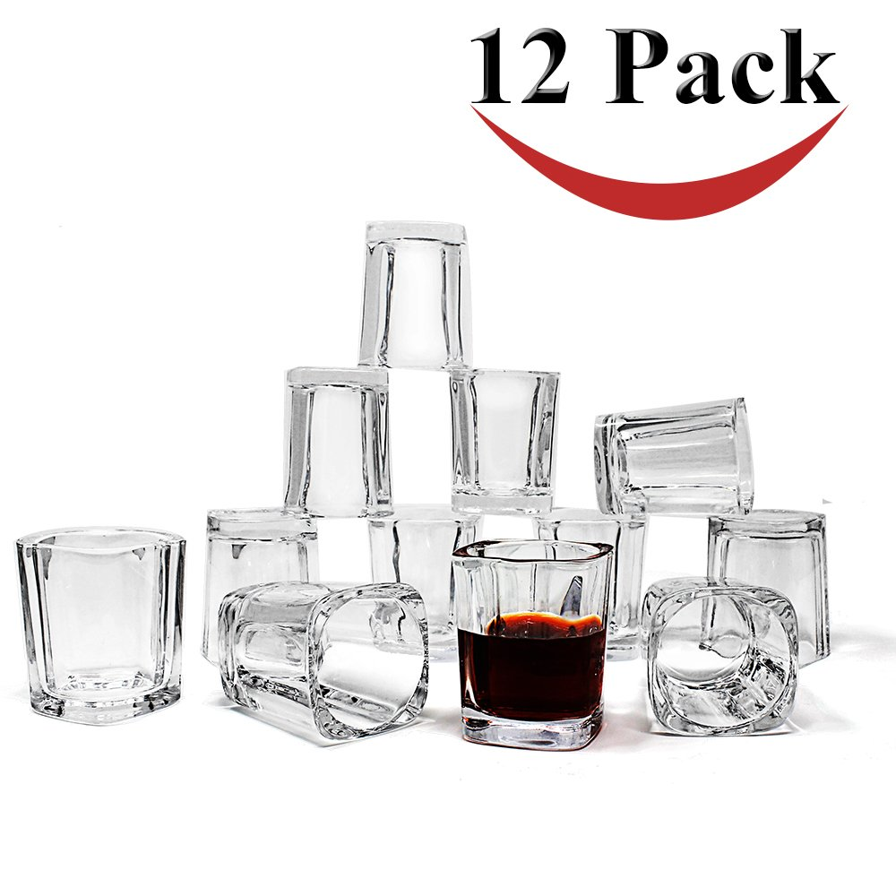 Jalousie 12 Pack clear glass 2 Ounces 2.4 inch Tall Shot Glass Tumbler Cup for Coffee Espresso Shot Jello Shot glasses value set FDA approved 2 oz shots for party wedding games