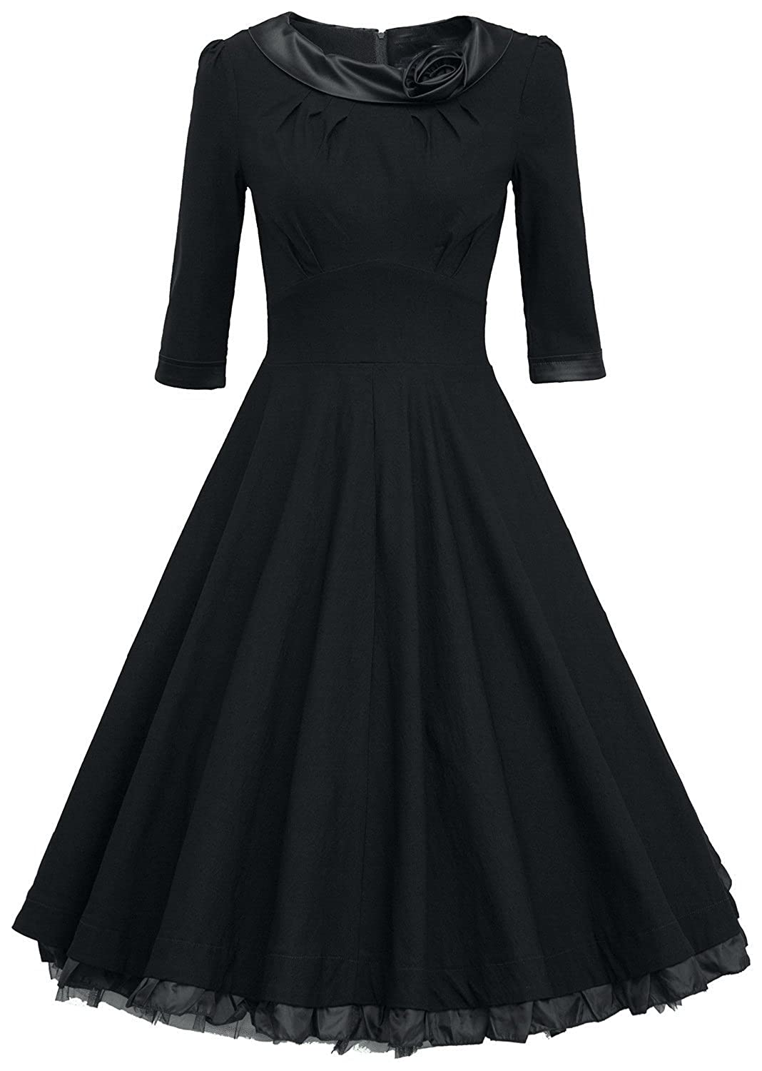SMITHROAD Retro Flounced 3/4 Sleeve Rockabilly kleid 50er Jahre Swing Abend Cocktail