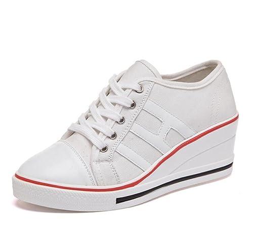 Zapatos de Lona Mujer Zapatillas de Deporte de cuña Casuales Mujer (Blanco,35)
