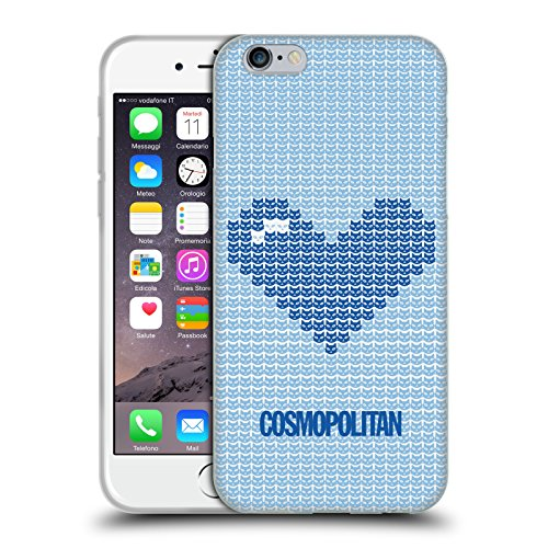Official Cosmopolitan Blue On Sky Blue Pixel Heart Lovey Soft Gel Case for Apple iPhone 6 / 6s