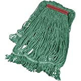 AmazonBasics Loop-End Synthetic Mop Head, 1.25-inch Headband, Large, Green - 6-Pack