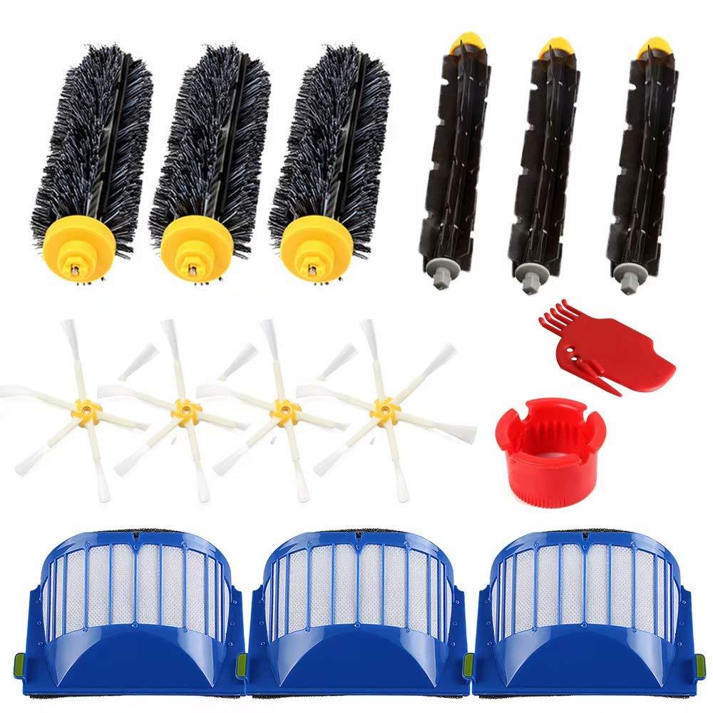 VacFit - Juego de Accesorios de aspiradora con cerdas y 6 cepillos Laterales y filtros Aero Vac y cepillos Flexibles para iRobot Roomba 600 Series 614 620 ...