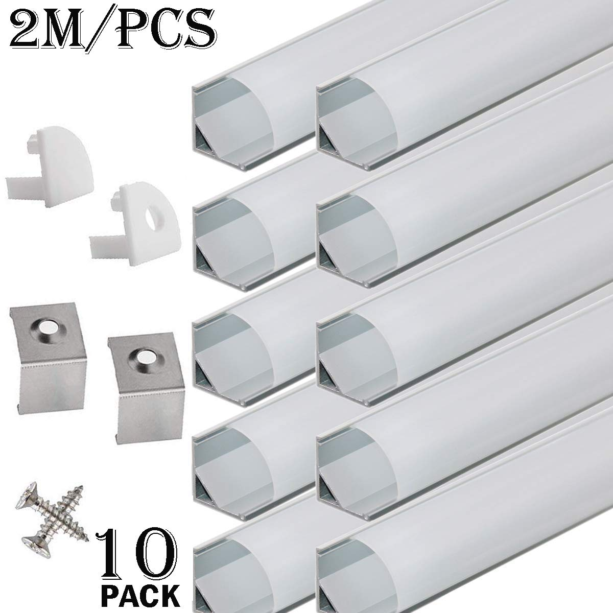 StarlandLed 10-Pack 6.6FT/2 Meter LED Aluminum Channel V-Shape, LED Profile with End Caps and Mounting Clips for LED Strip Light Mounting by StarlandLed