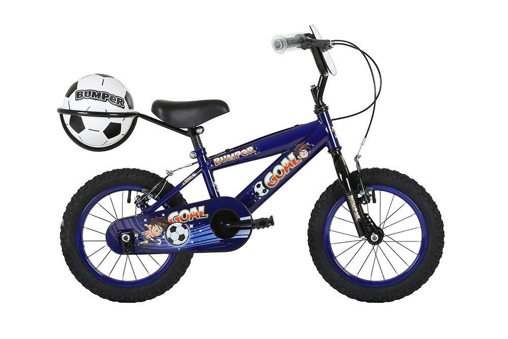 Bumper Ziel, Jungen Bike, Kinder Fahrrad, 45,7 cm Rad, blau, hinten Carrier & Fußball