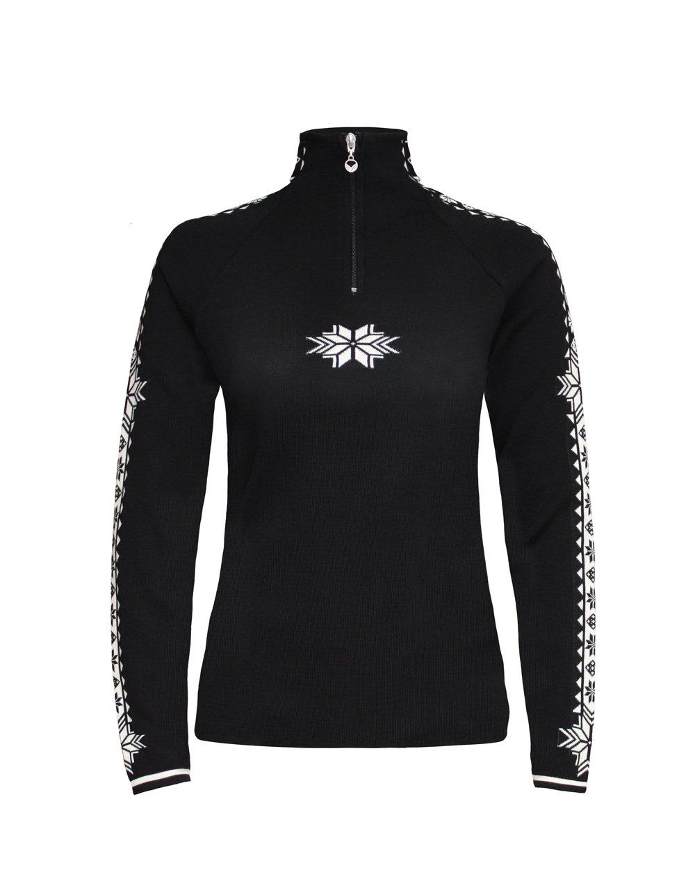 Dale of Norway Women's Geilo Sweater, Black/Off White, Medium