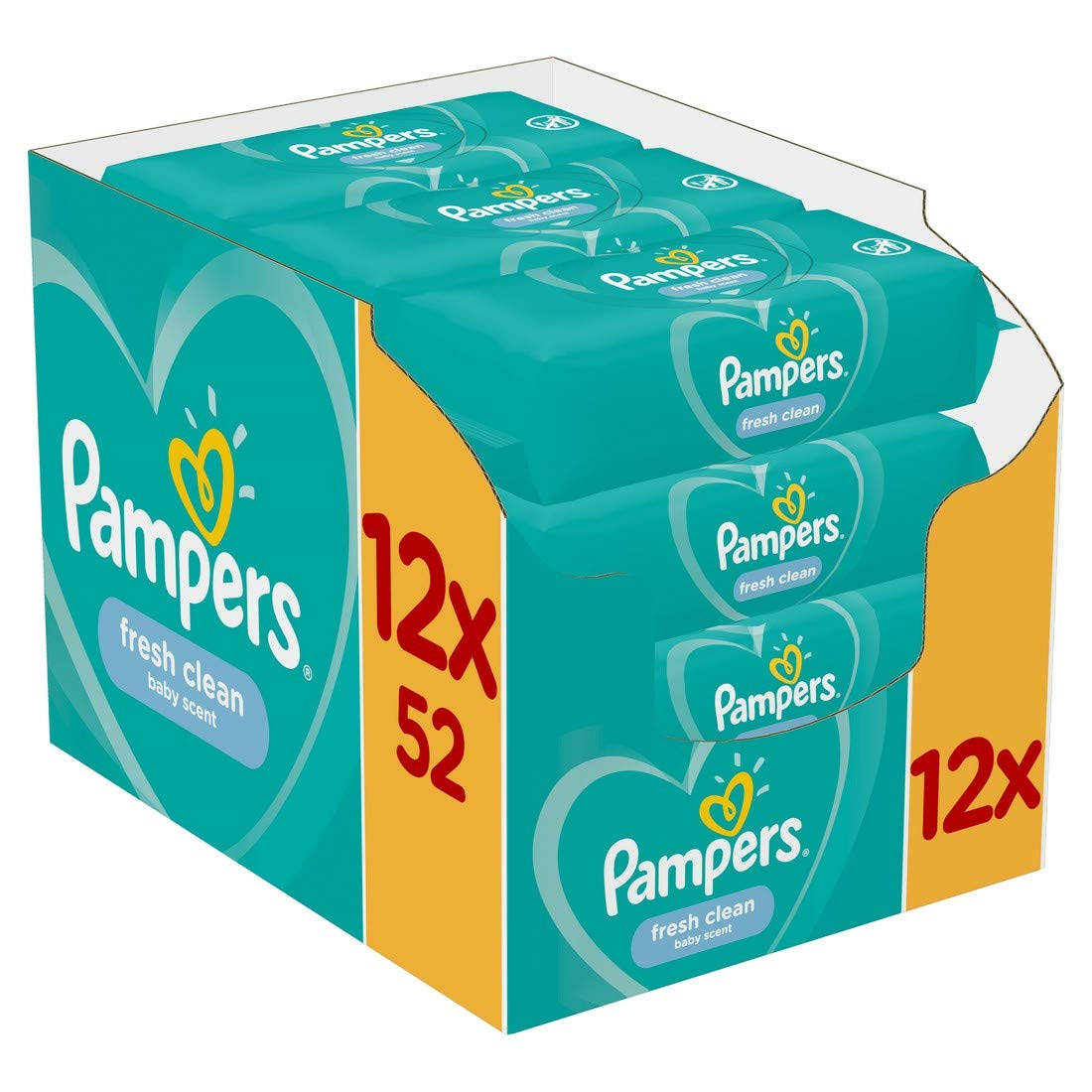 624 Lingettes Pampers Lingettes Sensitive Lot de 12 Paquets de 52 Lingettes