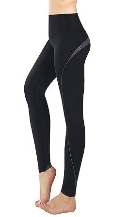 Munvot Legging de Sport Femme avec Poches Collants Running Jogging Pantalon  Fitness Taille Haute Noir 0e67410db15