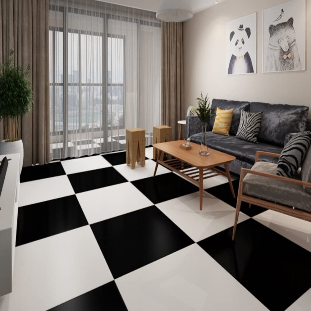 Fairylove Wall Floor Tile Sticker Black And White Vinyl Waterproof Peel And Stick Self Adhesive Square Wallpaper Mural Decal For Kitchen Bathroom Floor Wall Home Decor 30 5x30 5cm Amazon Co Uk Kitchen Home