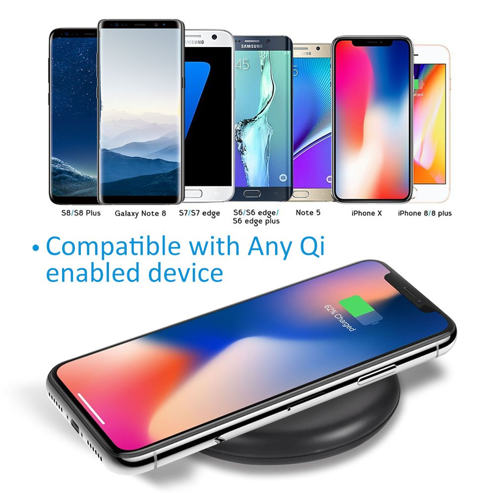 Wireless Charger, Christmas, Wozzako Charging Pad Compatible with iPhone Xs Max/XS/XR/X/8/8 Plus, Samsung Galaxy S9/S9+/S8/S8+/S7/S7 Edge More