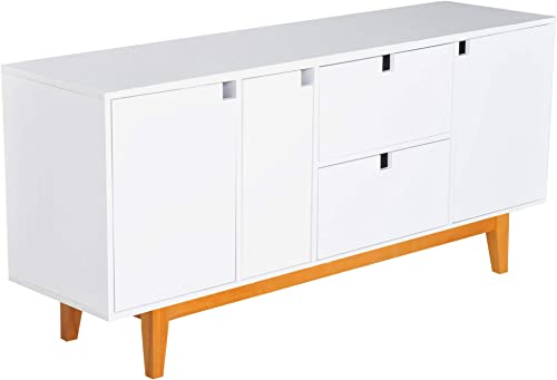 HOMCOM 57 Two Tone Contemporary Sideboard Buffet Table Storage Cabinet – White