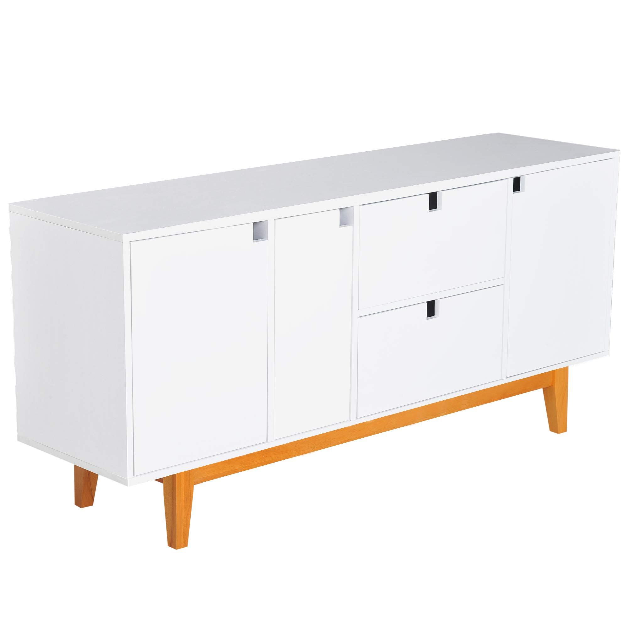 HOMCOM 57'' Two Tone Contemporary Sideboard Buffet Table Storage Cabinet - White