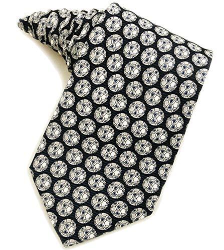 Men's 100% Silk Navy Blue Soccer Balls Sports Necktie Tie Neckwear