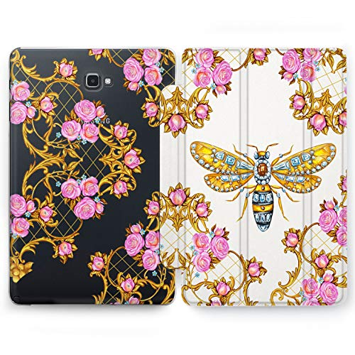 Wonder Wild Precious Wasp Samsung Galaxy Tab S4 S2 S3 A E Smart Stand Case 2015 2016 2017 2018 Tablet Cover 8 9.6 9.7 10 10.1 10.5 Inch Clear Design Bright Floral Print Smart Stand Hard Cute Pink -
