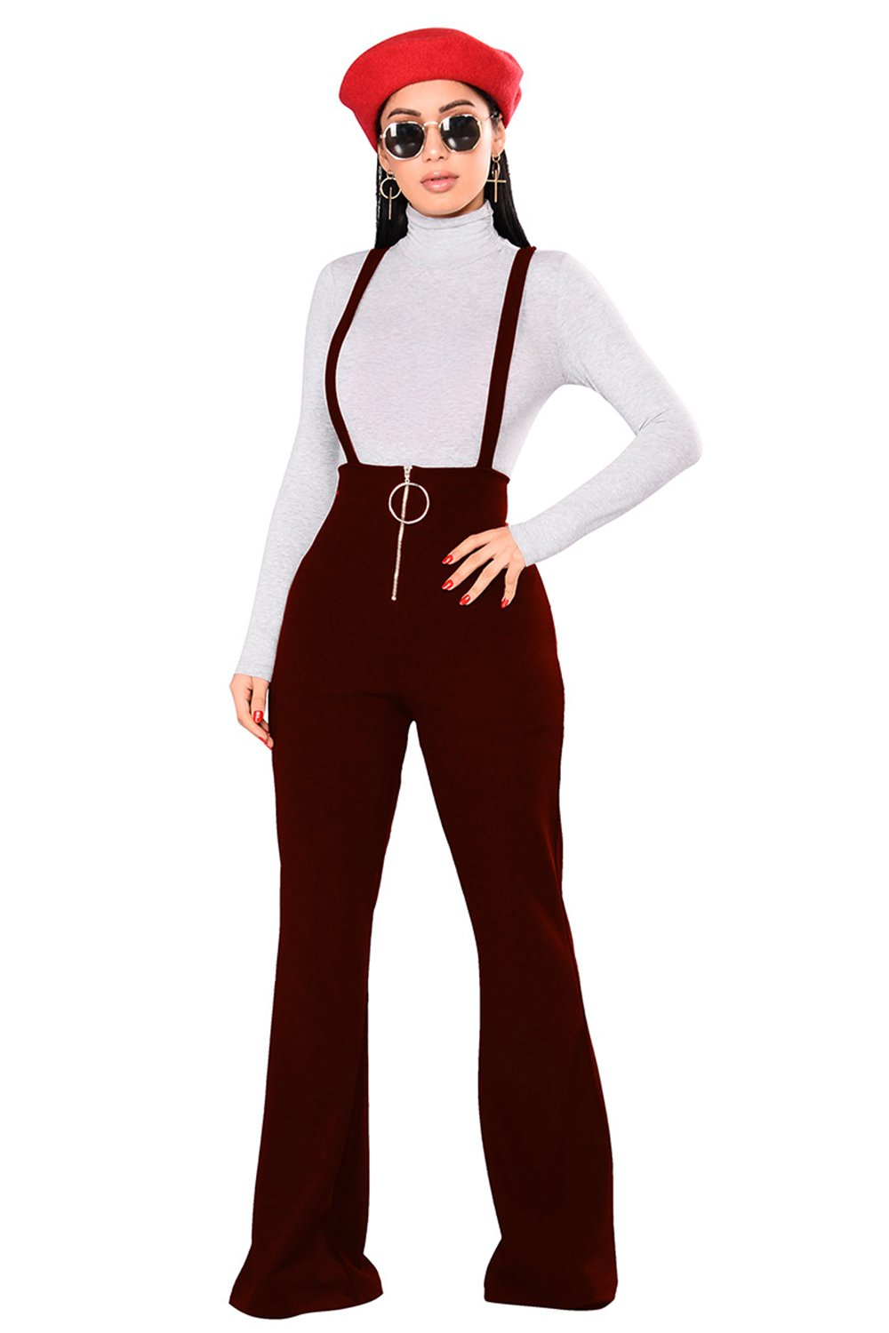 Lettre d'amour Women Bootcut and Flare Zipper Long Pants Rompers Jumpsuits Suspenders Trousers Overalls Wine L