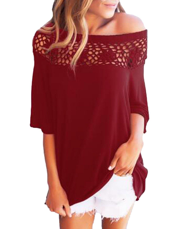 Kidsform Women's T-Shirt Blouse Off Shoulder Short Sleeve Floral Lace Round Neck Tunic Shirt Blouse Tops KIDSFORMyonnciiuk7719
