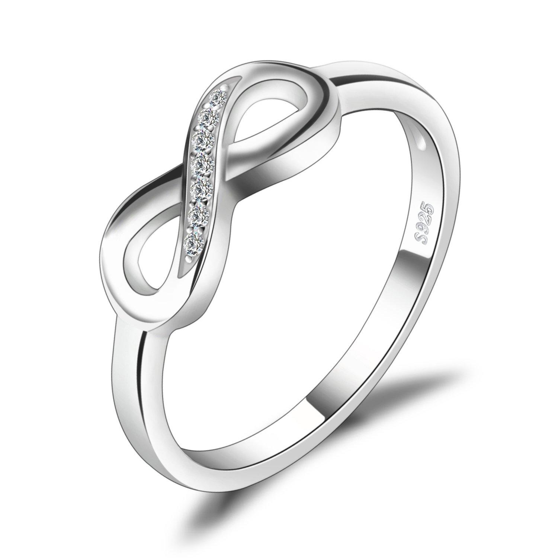 JewelryPalace Infinito Eterno Amore Cubic Zirconia Anniversario Promessa Anello 925 Sterling Argento EU-AR850099