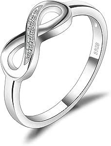 JewelryPalace Anillo Infinito Anillos Mujer Plata Diamante Simulado, Anillos Plata de ley 925 Mujer Chapado en Oro Blanco, Promiso Anillo Mujer Alianzas, Aniversario, Joyería Personalizada