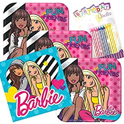 Lobyn Value Pack Barbie & Friends Party Plates and Napkins Serves 16 With Birthday Candles