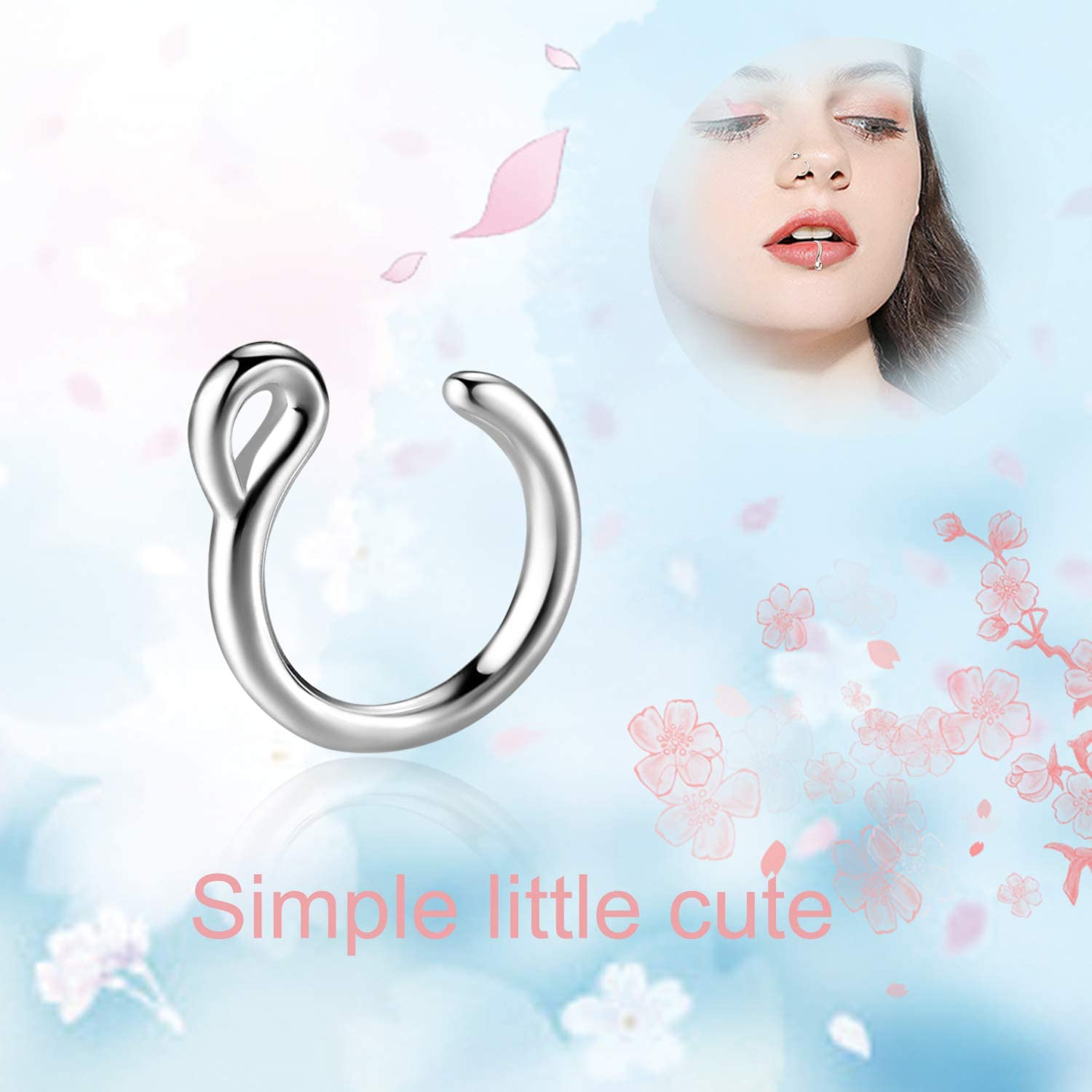 POPLYKE Sterling Silver Belly Button Rings Fake Nose Rings Tongue Nipple Rings Nose Rings Piercing Jewelry for Women