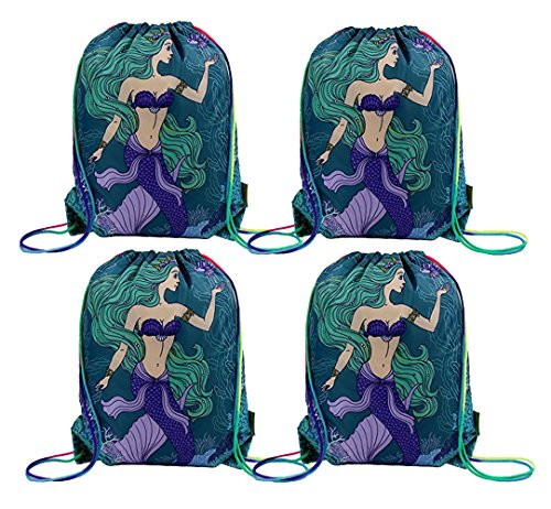 Mermaid Party Supplies Bags for Kids Girls, 4 Pack Drawstring Gym Backpack for Party Favors Gifts (Idee Originali Per Halloween)