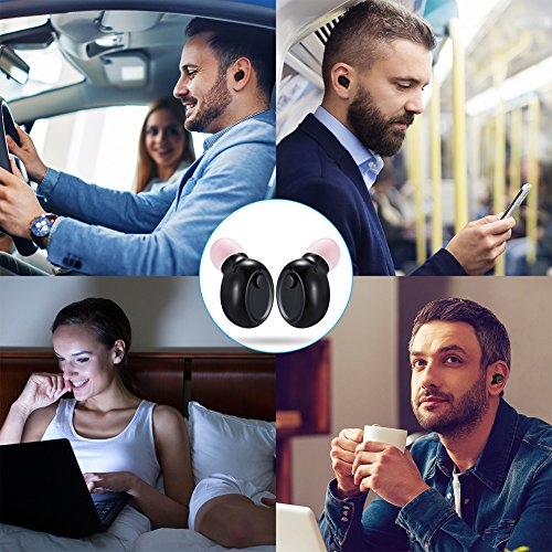 Mini Bluetooth Earbuds, PChero Wireless Invisible Headphone with Built-in Mic and Charging Box, Ideal for iOS Android Smartphones Tablets (Black, Double Ears) by PChero (Image #5)'
