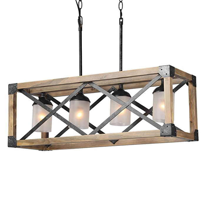 LALUZ Farmhouse Wood Linear Island Chandeliers 4-Light Kitchen Table Light Rustic Lighting Fixture